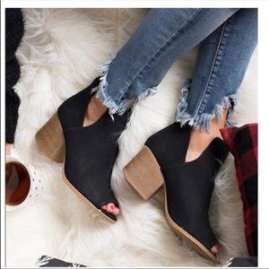 Peep toe black chunky heel booties
